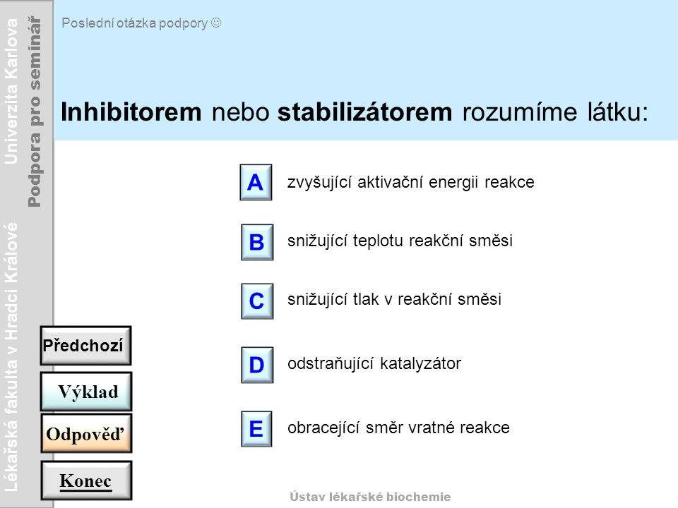Inhibitorem nebo stabilizátorem rozumíme látku:
