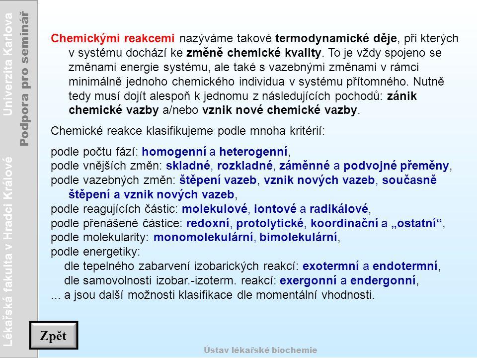 Chemickými reakcemi nazýváme takové termodynamické děje, při kterých v systému dochází ke změně chemické kvality. To je vždy spojeno se změnami energie systému, ale také s vazebnými změnami v rámci minimálně jednoho chemického individua v systému přítomného. Nutně tedy musí dojít alespoň k jednomu z následujících pochodů: zánik chemické vazby a/nebo vznik nové chemické vazby.