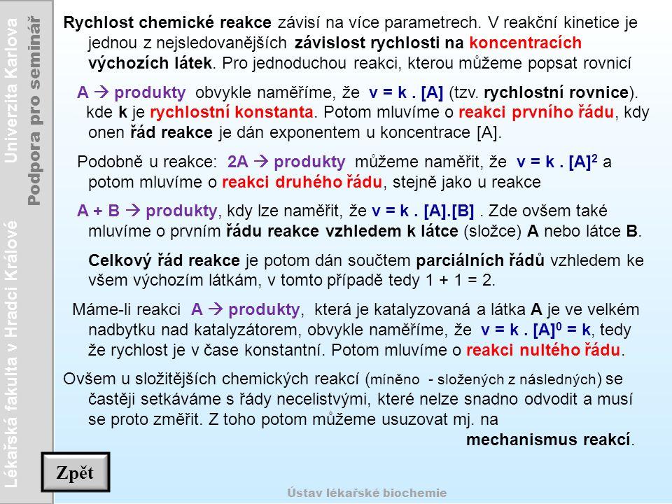 Rychlost chemické reakce závisí na více parametrech