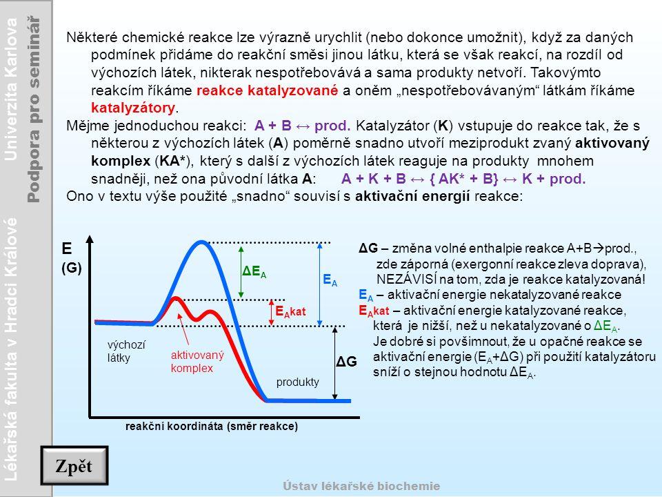"""Některé chemické reakce lze výrazně urychlit (nebo dokonce umožnit), když za daných podmínek přidáme do reakční směsi jinou látku, která se však reakcí, na rozdíl od výchozích látek, nikterak nespotřebovává a sama produkty netvoří. Takovýmto reakcím říkáme reakce katalyzované a oněm """"nespotřebovávaným látkám říkáme katalyzátory."""