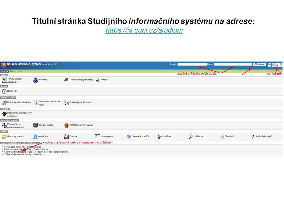 Titulní stránka Studijního informačního systému na adrese: