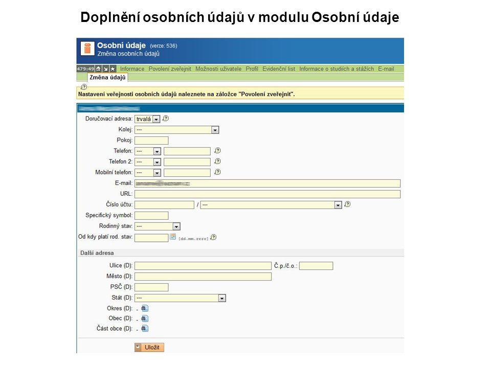 Doplnění osobních údajů v modulu Osobní údaje