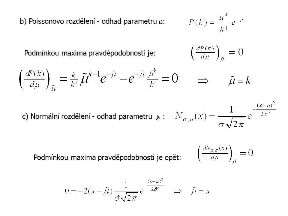 b) Poissonovo rozdělení - odhad parametru :
