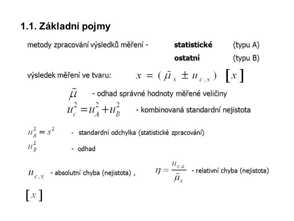 1.1. Základní pojmy metody zpracování výsledků měření - statistické (typu A) ostatní (typu B) výsledek měření ve tvaru: