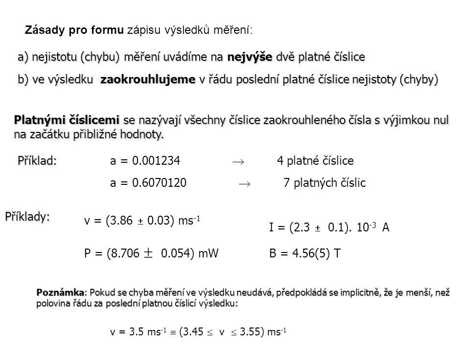 Zásady pro formu zápisu výsledků měření: