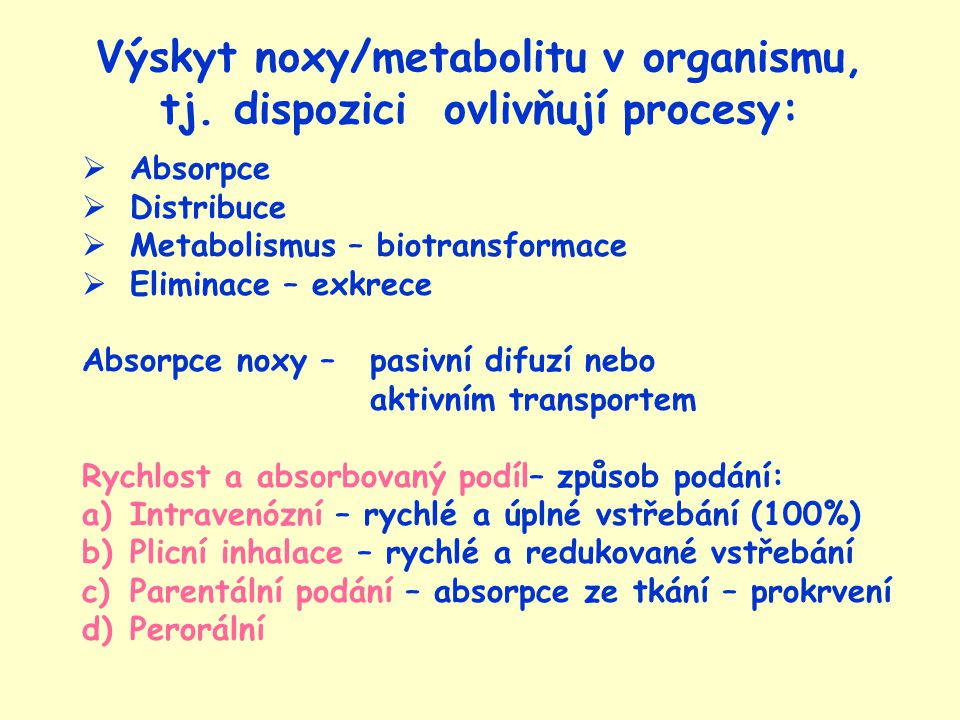 Výskyt noxy/metabolitu v organismu, tj. dispozici ovlivňují procesy: