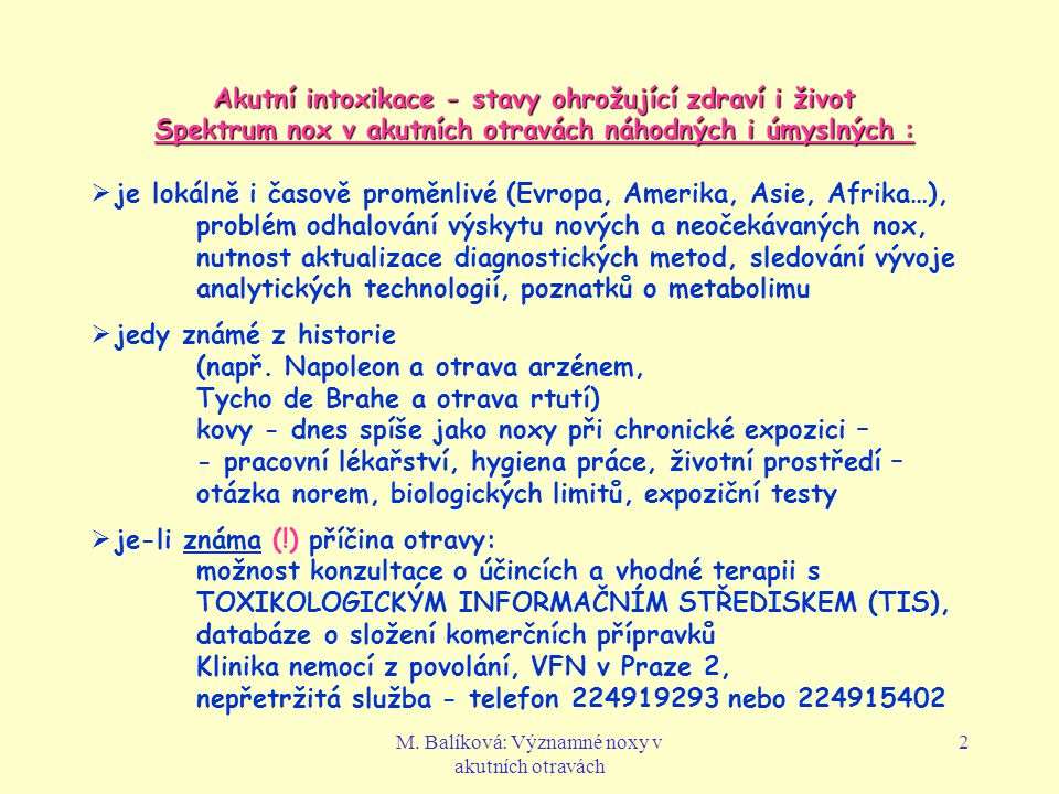 Akutní intoxikace - stavy ohrožující zdraví i život