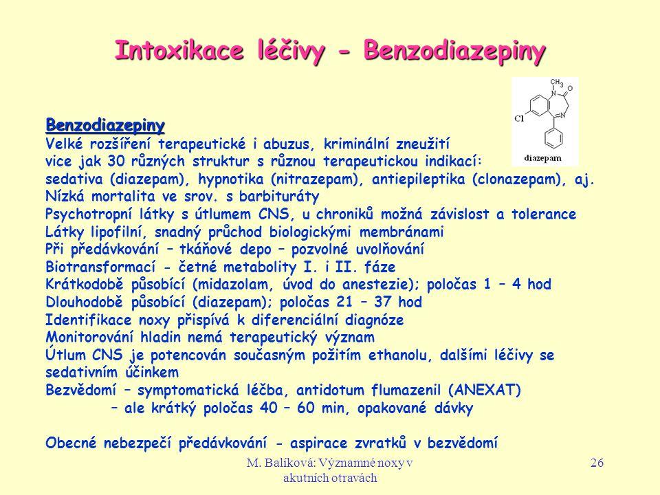 Intoxikace léčivy - Benzodiazepiny
