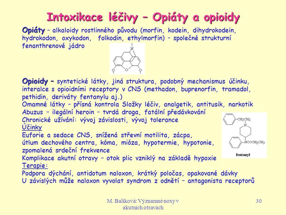 Intoxikace léčivy – Opiáty a opioidy