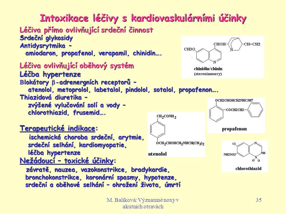 Intoxikace léčivy s kardiovaskulárními účinky