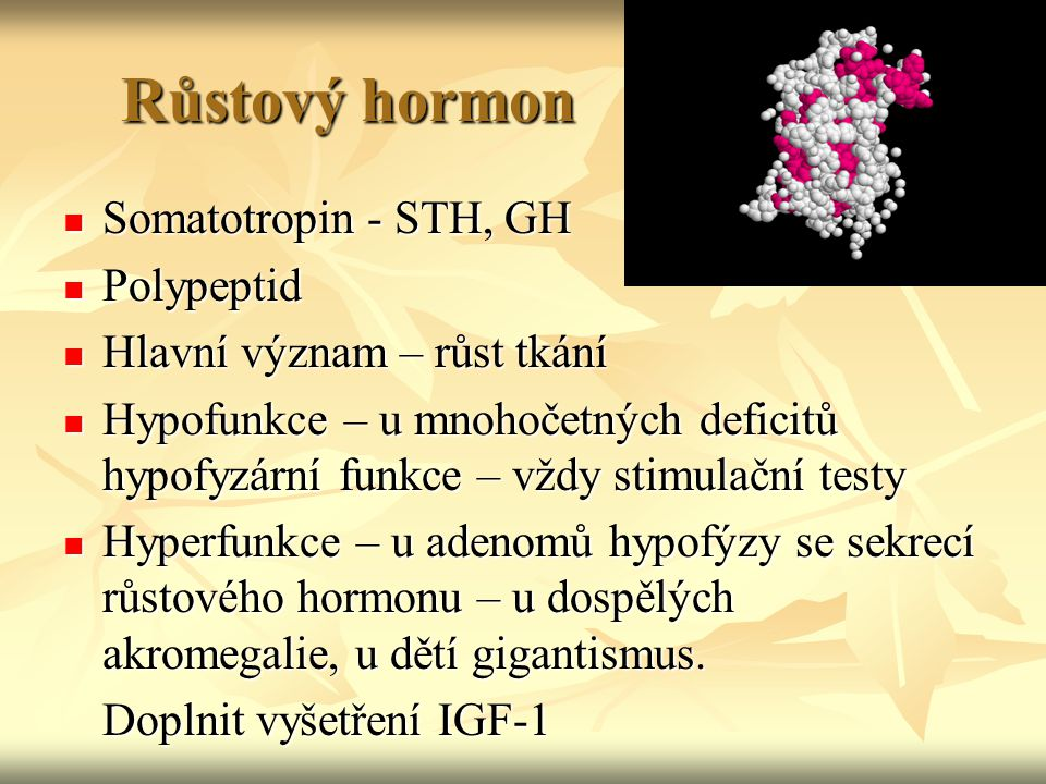 Růstový hormon Somatotropin - STH, GH Polypeptid
