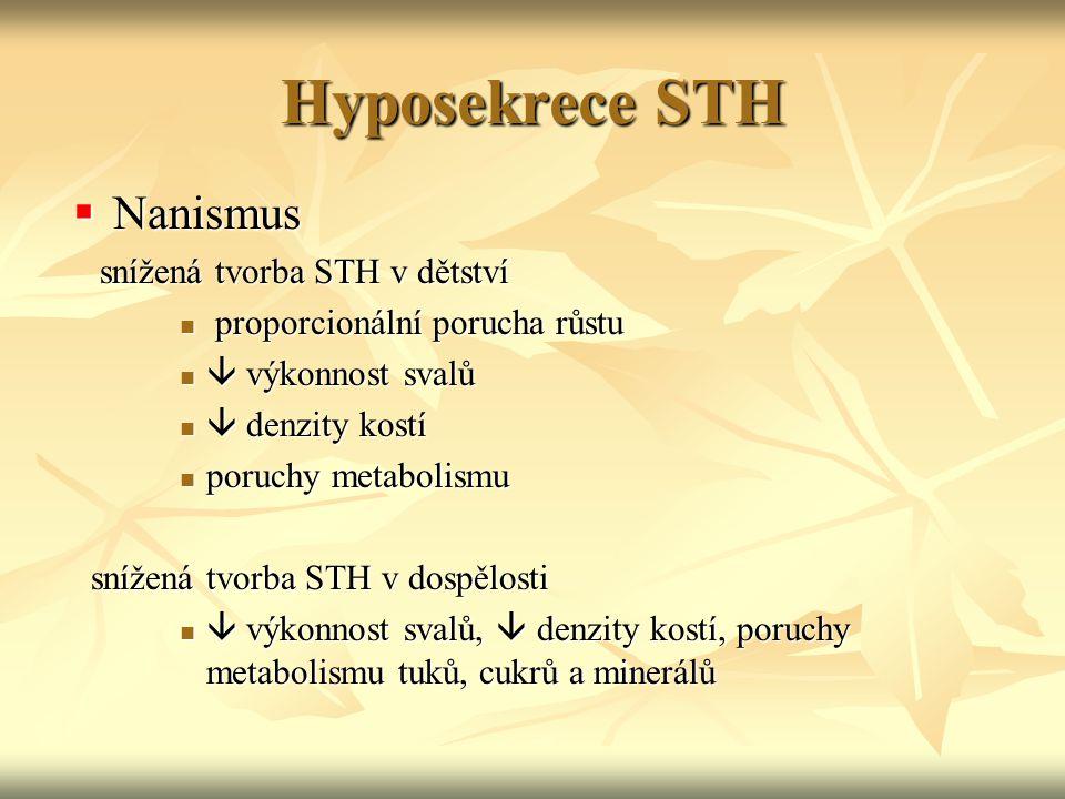 Hyposekrece STH Nanismus snížená tvorba STH v dětství