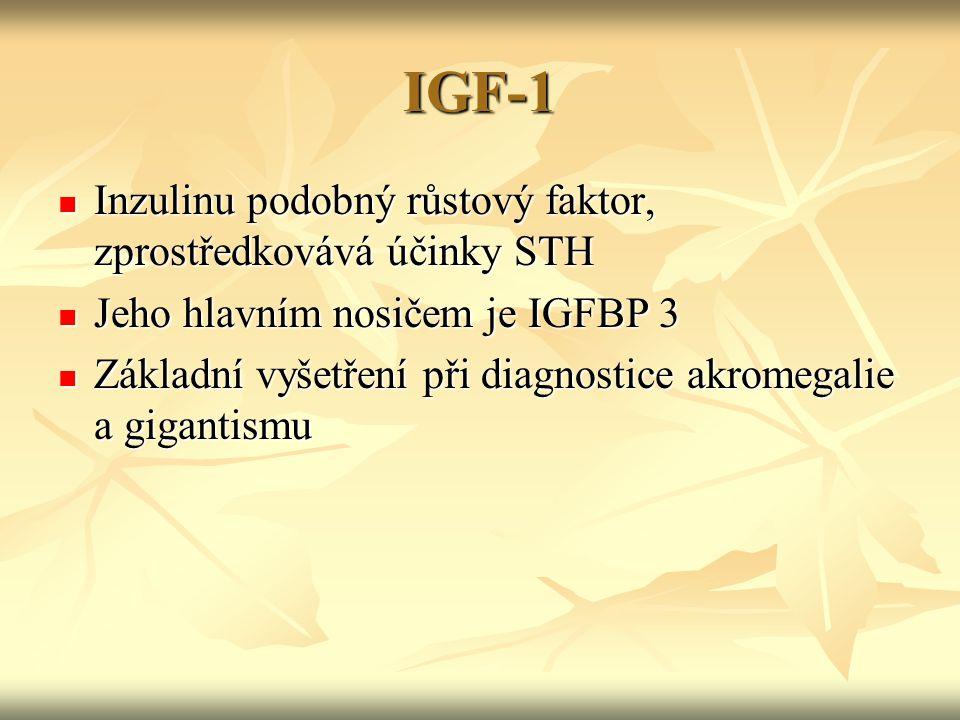IGF-1 Inzulinu podobný růstový faktor, zprostředkovává účinky STH
