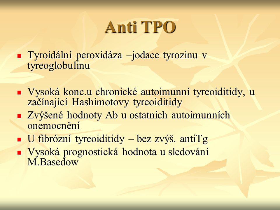 Anti TPO Tyroidální peroxidáza –jodace tyrozinu v tyreoglobulinu