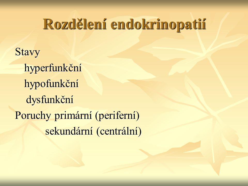 Rozdělení endokrinopatií