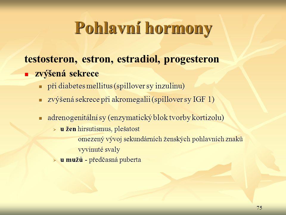 Pohlavní hormony testosteron, estron, estradiol, progesteron