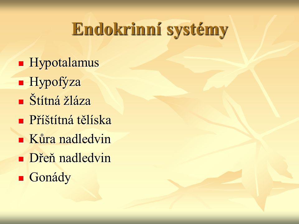 Endokrinní systémy Hypotalamus Hypofýza Štítná žláza Příštítná tělíska