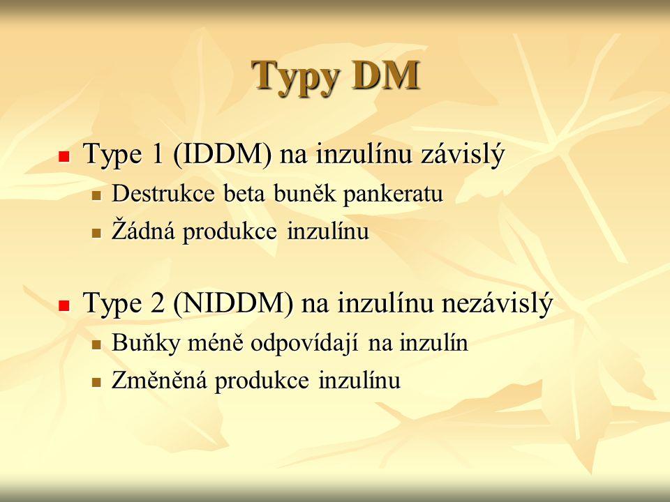 Typy DM Type 1 (IDDM) na inzulínu závislý