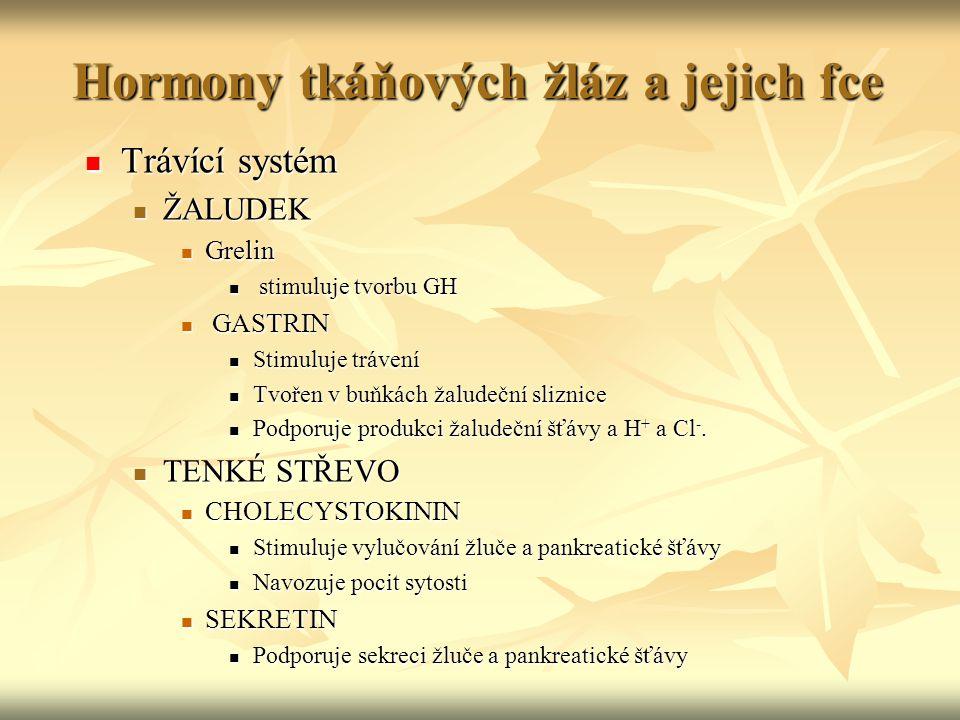 Hormony tkáňových žláz a jejich fce