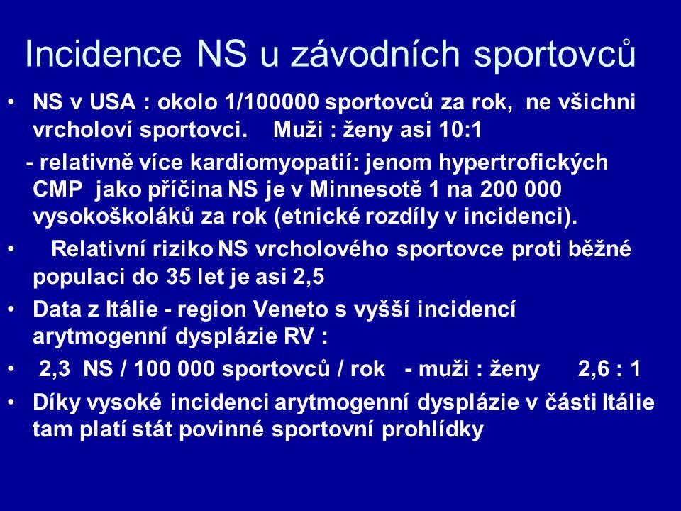 Incidence NS u závodních sportovců