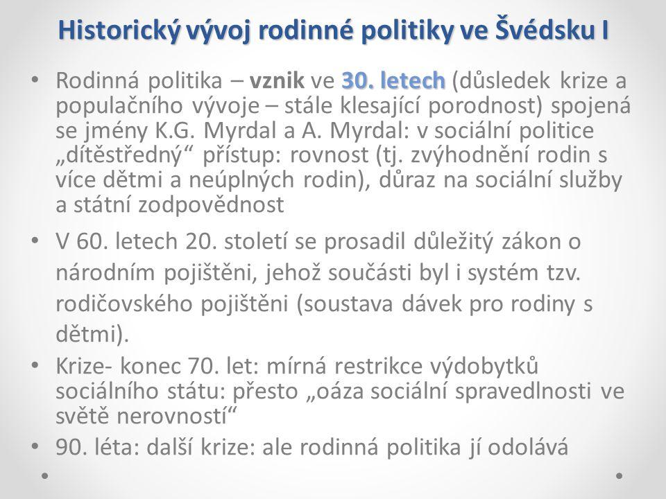Historický vývoj rodinné politiky ve Švédsku I