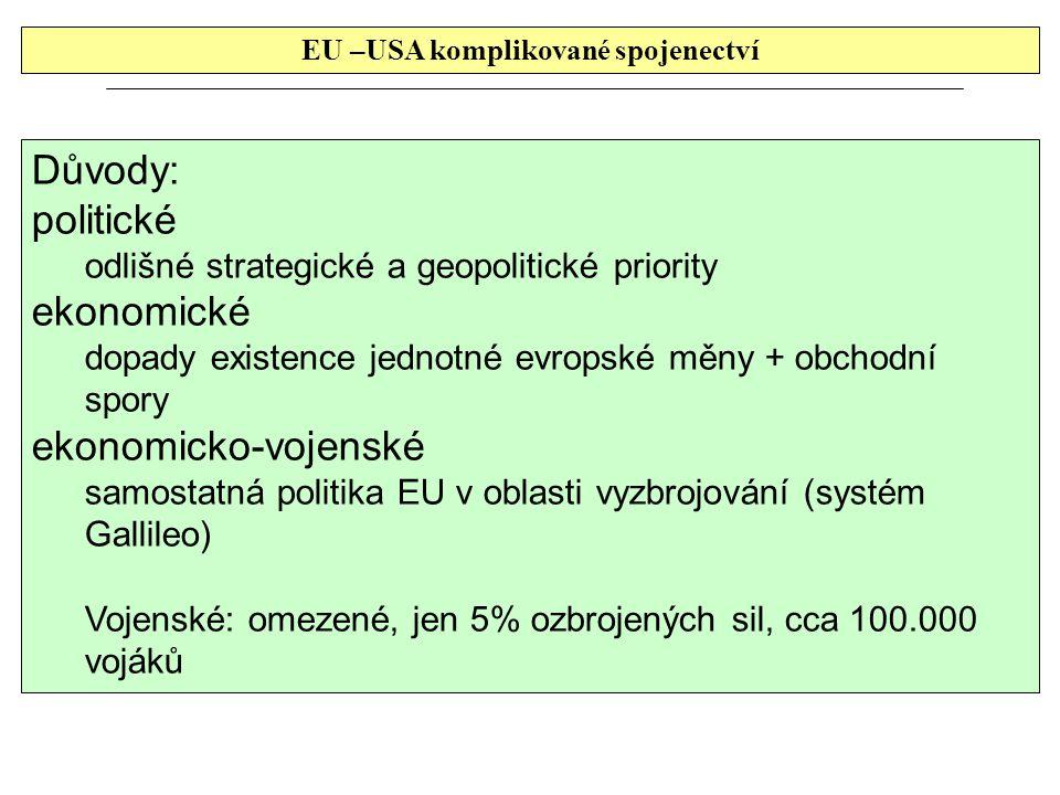 EU –USA komplikované spojenectví