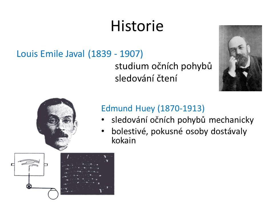 Historie Louis Emile Javal (1839 - 1907) studium očních pohybů sledování čtení Edmund Huey (1870-1913)