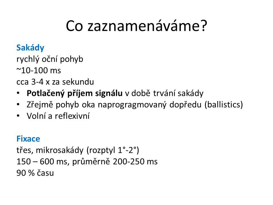 Co zaznamenáváme Sakády rychlý oční pohyb ~10-100 ms