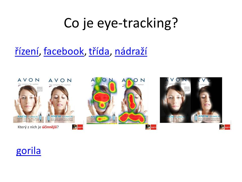 Co je eye-tracking řízení, facebook, třída, nádraží gorila