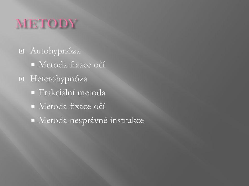 METODY Autohypnóza Metoda fixace očí Heterohypnóza Frakciální metoda