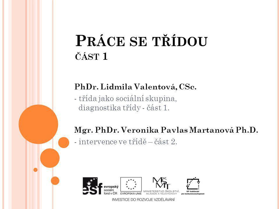 Práce se třídou část 1 PhDr. Lidmila Valentová, CSc.