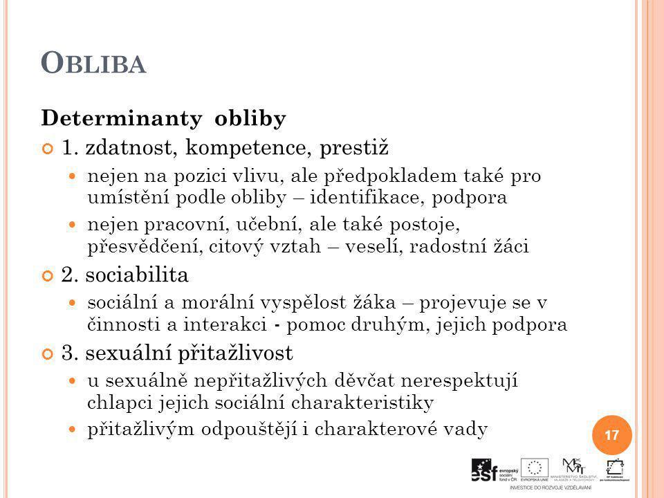 Obliba Determinanty obliby 1. zdatnost, kompetence, prestiž