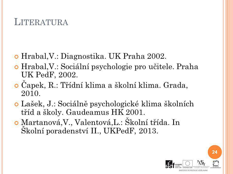 Literatura Hrabal,V.: Diagnostika. UK Praha 2002.