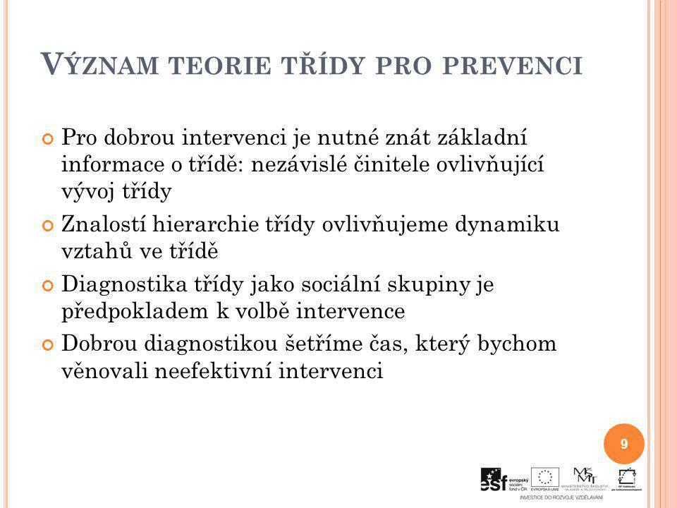 Význam teorie třídy pro prevenci