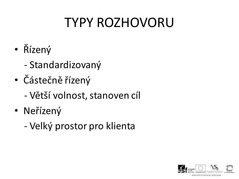TYPY ROZHOVORU Řízený - Standardizovaný Částečně řízený