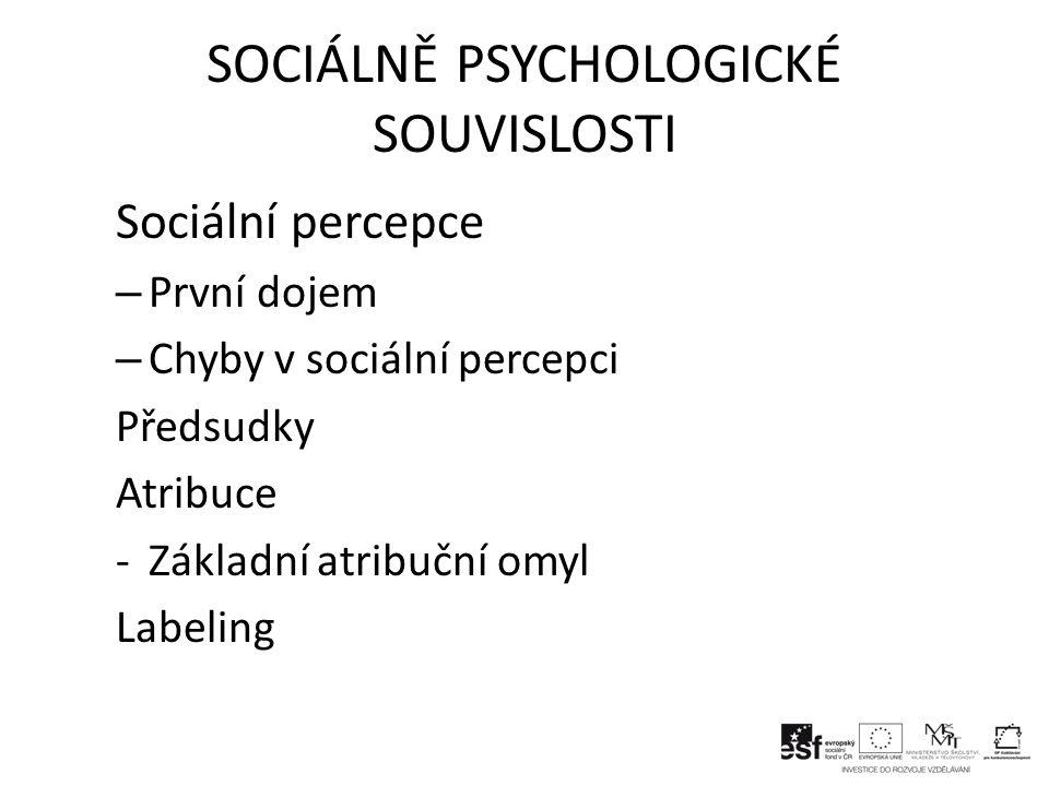 SOCIÁLNĚ PSYCHOLOGICKÉ SOUVISLOSTI