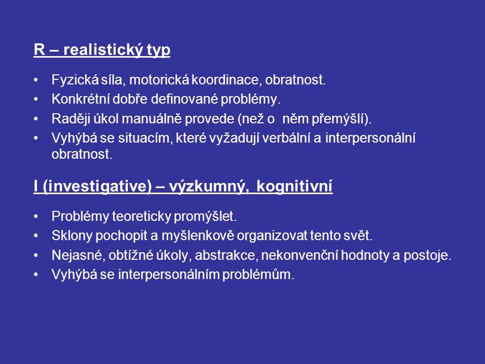 I (investigative) – výzkumný, kognitivní