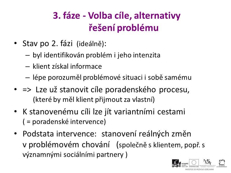 3. fáze - Volba cíle, alternativy řešení problému