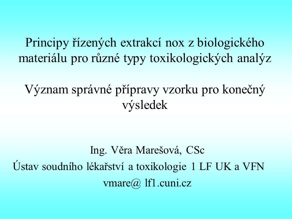 Principy řízených extrakcí nox z biologického materiálu pro různé typy toxikologických analýz Význam správné přípravy vzorku pro konečný výsledek