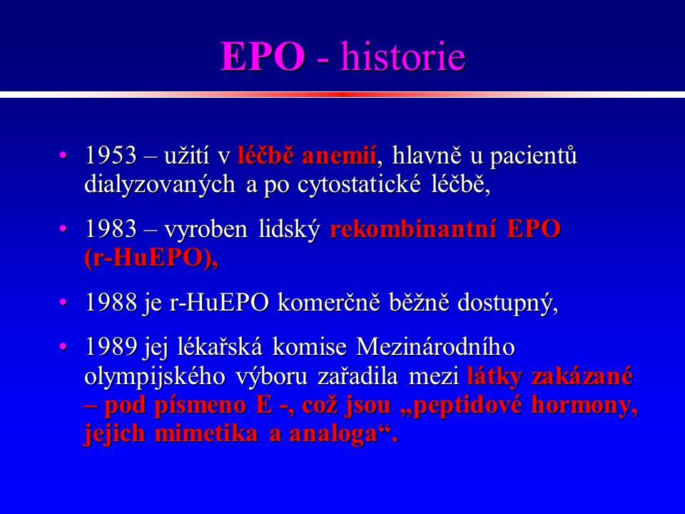 EPO - historie 1953 – užití v léčbě anemií, hlavně u pacientů dialyzovaných a po cytostatické léčbě,