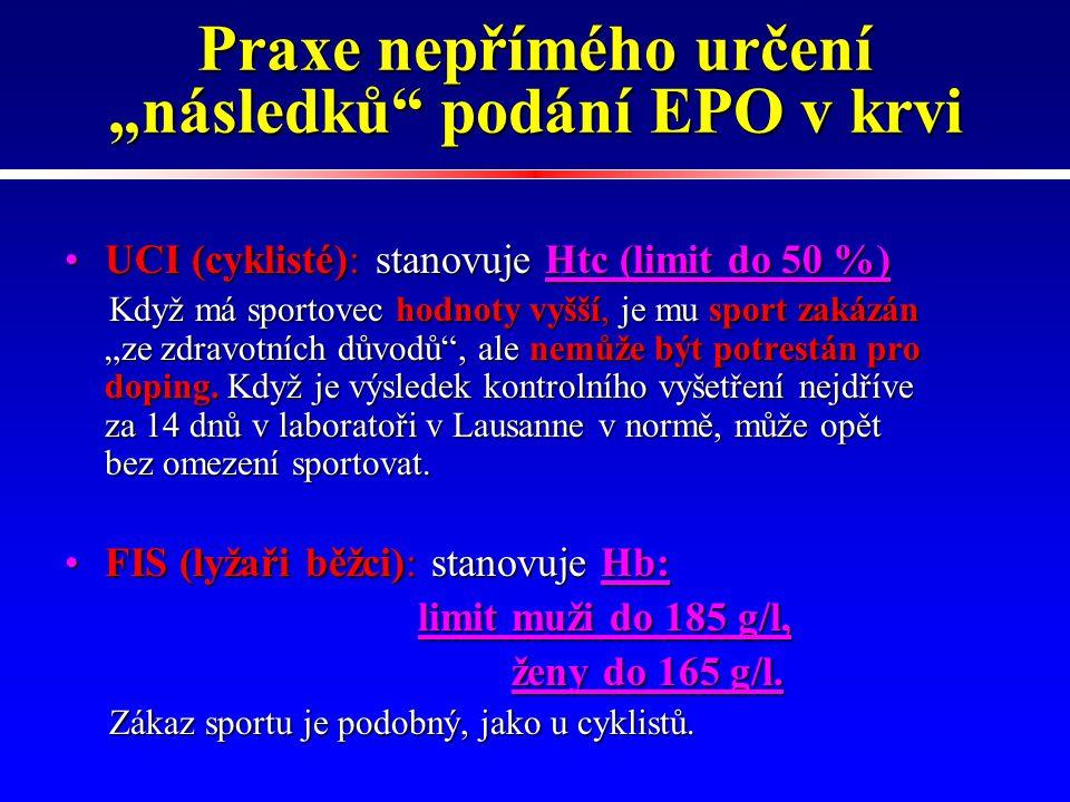 """Praxe nepřímého určení """"následků podání EPO v krvi"""