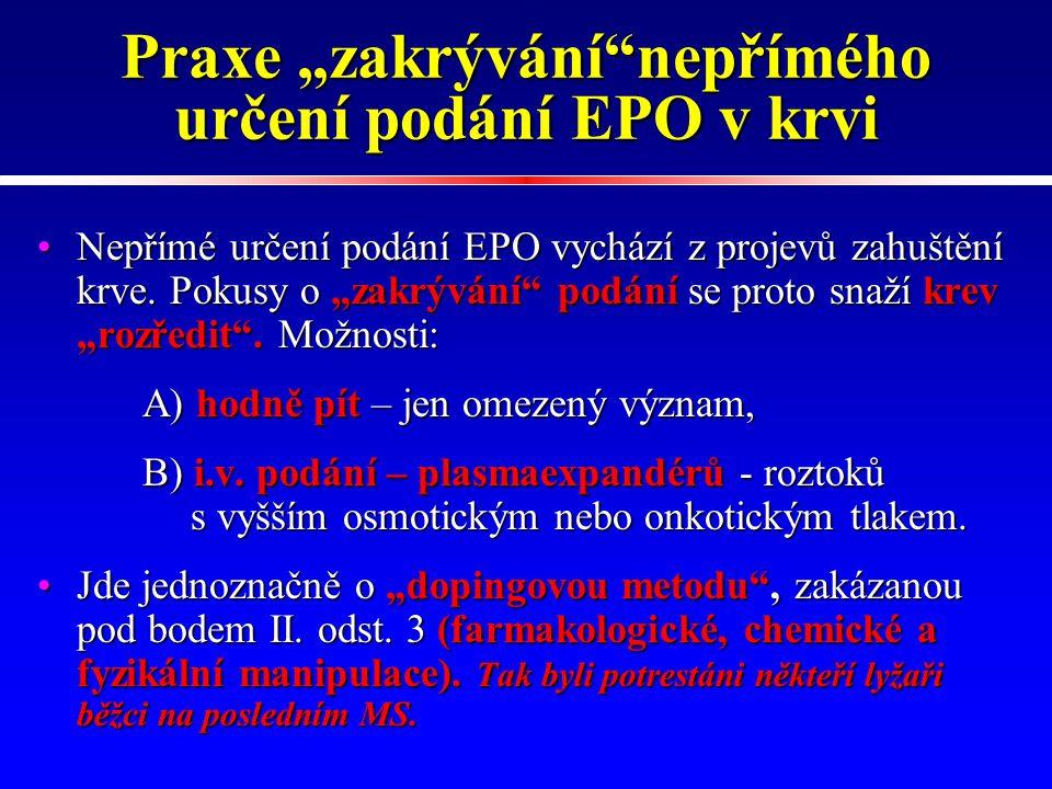 """Praxe """"zakrývání nepřímého určení podání EPO v krvi"""