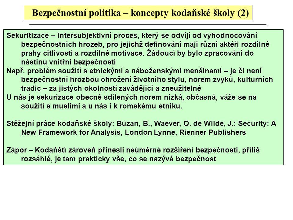 Bezpečnostní politika – koncepty kodaňské školy (2)