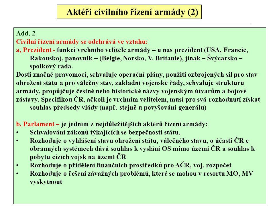 Aktéři civilního řízení armády (2)