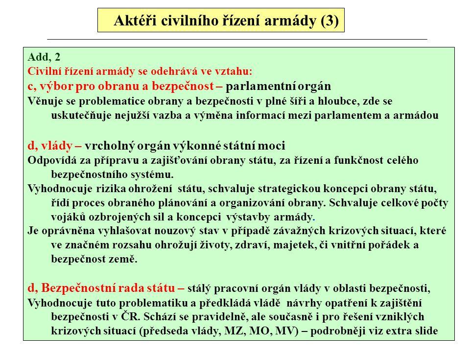 Aktéři civilního řízení armády (3)
