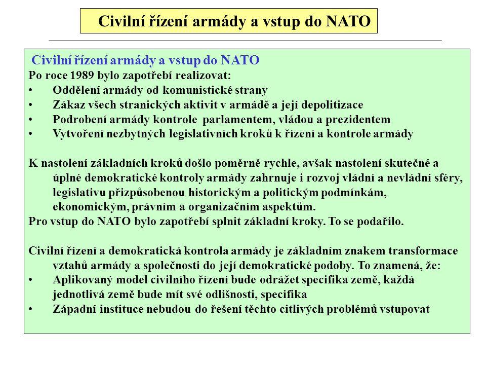 Civilní řízení armády a vstup do NATO