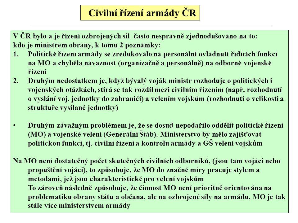 Civilní řízení armády ČR
