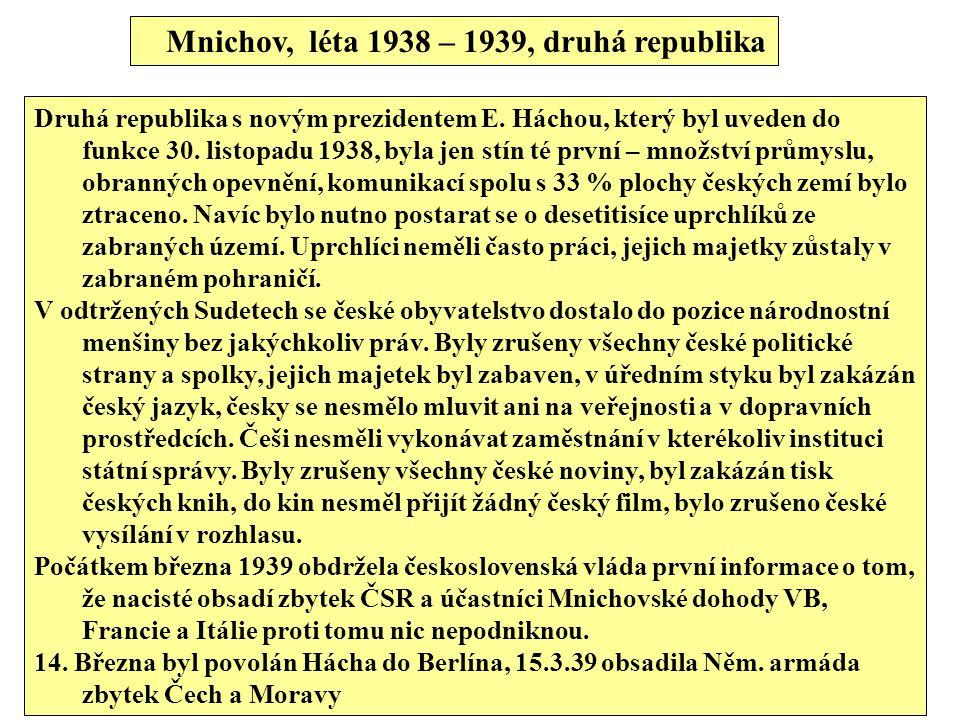 Mnichov, léta 1938 – 1939, druhá republika