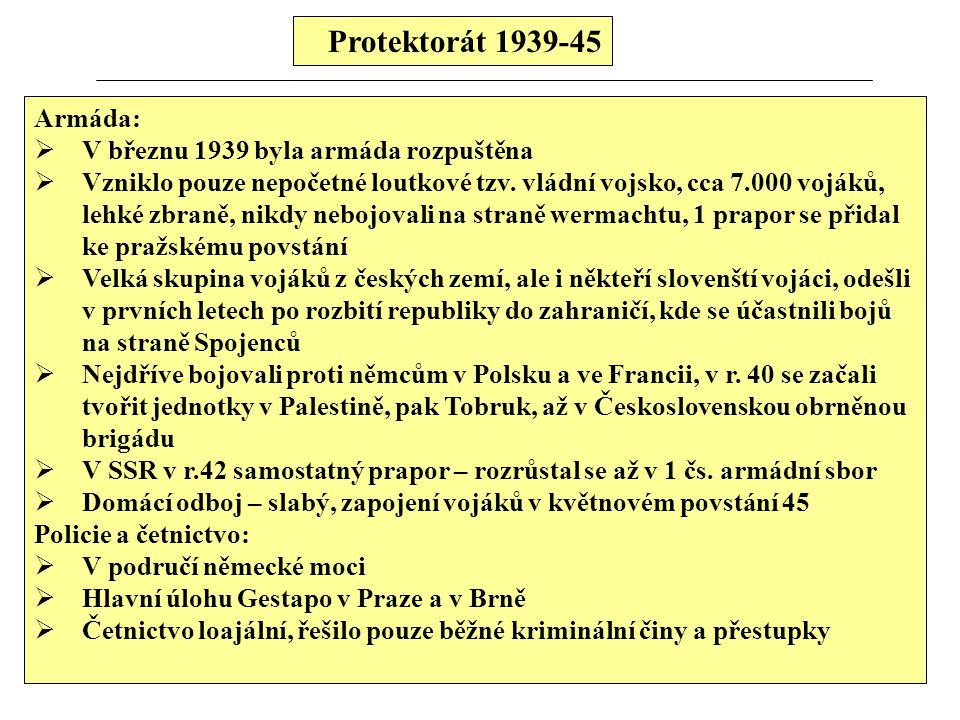 Protektorát 1939-45 Armáda: V březnu 1939 byla armáda rozpuštěna