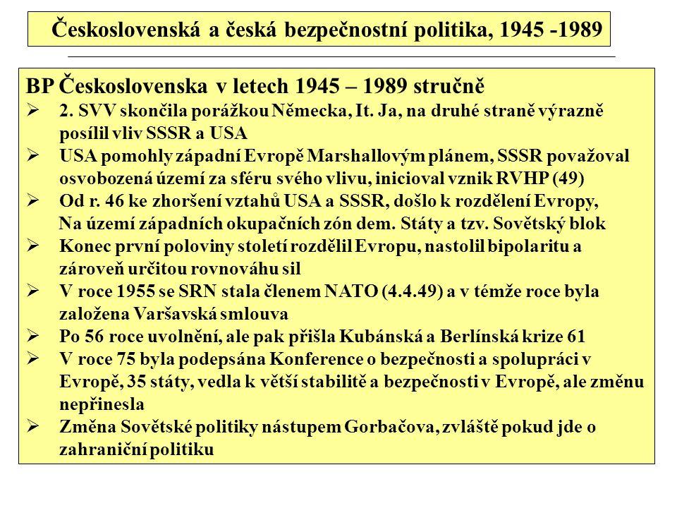 Československá a česká bezpečnostní politika, 1945 -1989